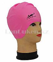 """Силиконовая шапочка для плавания с удлиненными """"ушками""""  Yongbo розовая, фото 1"""