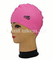 Силиконовая шапочка для плавания Conquest ярко розовая рифленая, фото 1