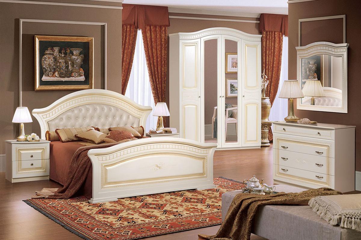 Кровать двуспальная как часть комплекта Любава 4, Жемчуг, Форест Деко Групп (Беларусь)