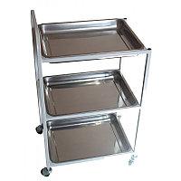 Столик процедурный с 3-мя металлическими поддонами (никелированными)