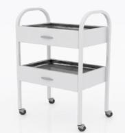 Столик хирургический с 2-мя выдвижными ящиками и 2-мя металлическими поддонами (никелированными)