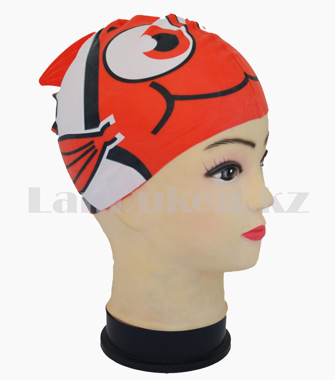 Силиконовая шапочка для плавания детская рыбка Neo с плавником и хвостиком