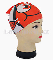 Силиконовая шапочка для плавания детская рыбка Neo с плавником и хвостиком, фото 1
