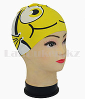 Силиконовая шапочка для плавания детская рыбка Neo с плавником и хвостиком Желтый