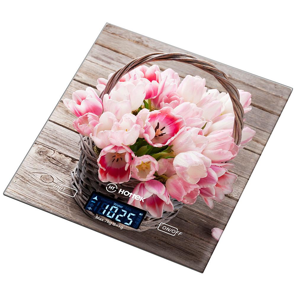 """Весы кухонные """"Розовые тюльпаны"""" 18*20 см макс.вес 7 кг"""