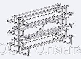 Стеллаж под линолеум двухсторонний на 12 рулонов (L=3000 мм) арт. СЛ12/3