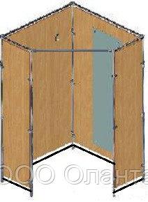 Комплектующие каркаса примерочной отдельностоящей кабины угловой 1000х1000х2000 мм (без штор и ЛДСП) арт. №18