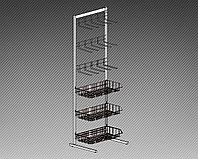 Прикассовая стойка на 3 корзины и 3 дисплея с крючками (400х400х1450 мм) арт. СтПр5