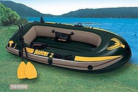 Надувная лодка INTEX Seahawk 200 Set с ручным насосом и вёслами.