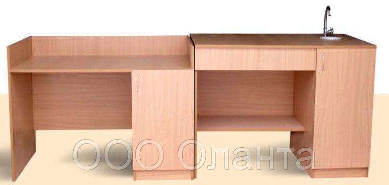 Стол демонстрационный с сантехникой для кабинета химии (2400х700х900 мм) арт. СД-1