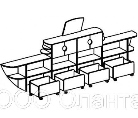 Стеллаж для игрушек ЛАЙНЕР (3884х400х1225 мм) арт. СТК