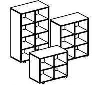 Стеллаж для игрушек и пособий на 4 ячейки ДОМИНО двухсторонний (708х400х752 мм) арт. СТД1