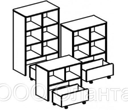 Стеллаж для игрушек и пособий на 2 ячейки с выкатным ящиком ДОМИНО двухсторонний (708х400х752 мм) арт. СТД2