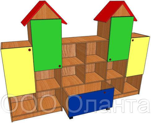 Стеллаж для игрушек ЗАМОК (2368х400х1700 мм) арт. СТЗ
