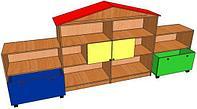Стеллаж для игрушек ДОМ (3152х400х1340 мм) арт. СТД