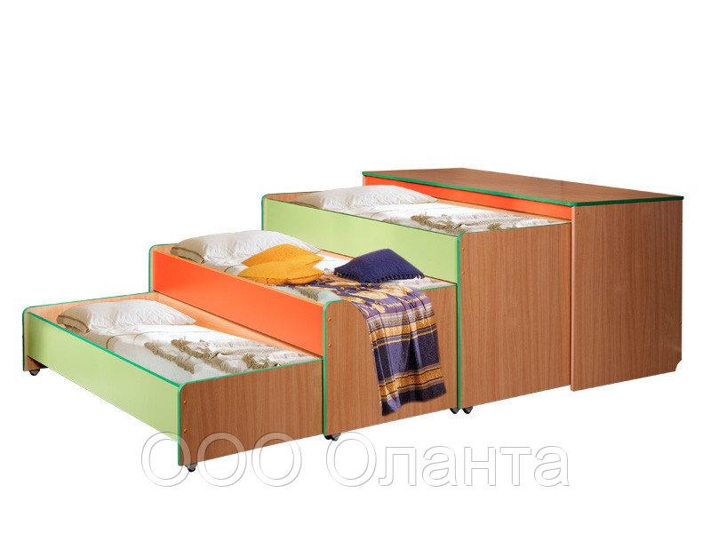 Кровать детская с тумбой трехуровневая (1512х640х852)