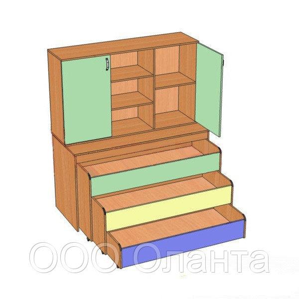 Кровать детская с надстройкой трехуровневая (1512х640х852/1756)