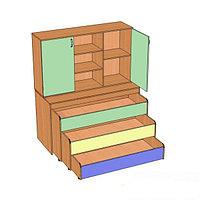 Кровать детская с надстройкой трехуровневая (1512х640х852/1756), фото 1