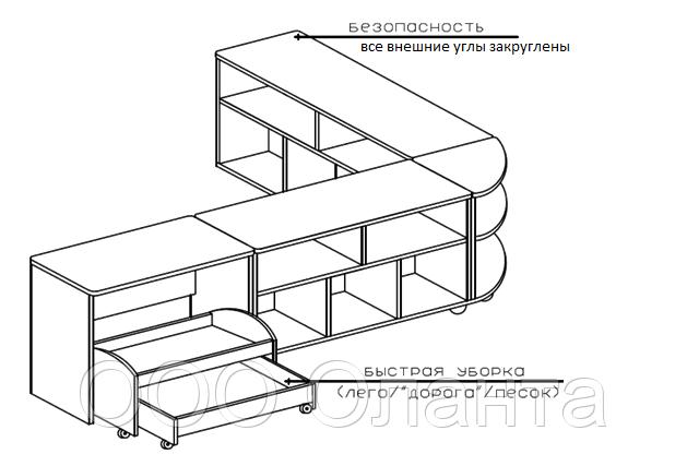 Комплект тумб для детского сада (2000х400/1200х620)