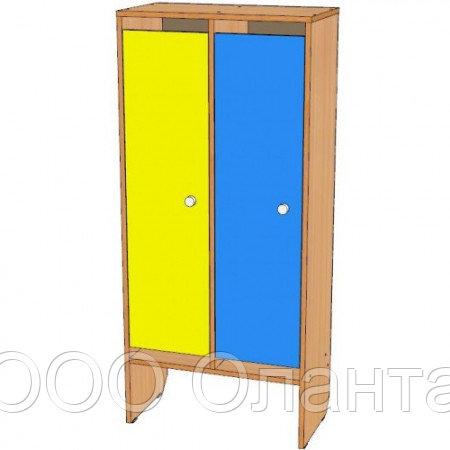 Шкаф для одежды двухсекционный (648х330х1400) со скамьей