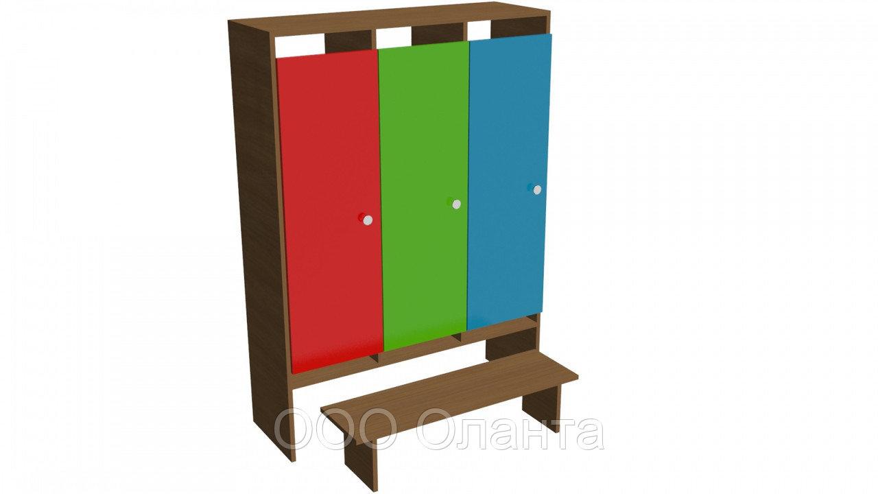 Шкаф трехместный для раздевалки детского сада (964х330х1400) арт. ШДО3
