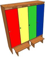 Шкаф четырехместный для раздевалки детского сада (1280х330х1400) арт. ШДО4, фото 1