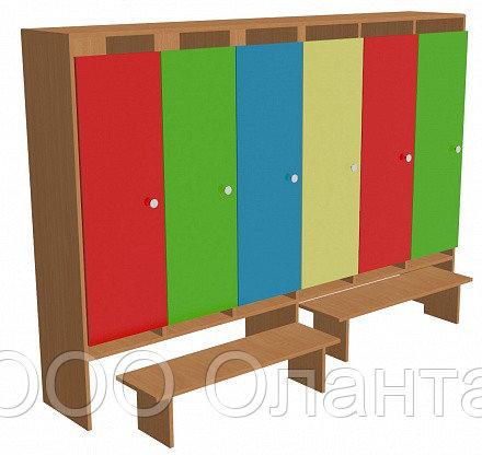 Шкаф для одежды шестисекционный (1912х330х1400) со скамейками