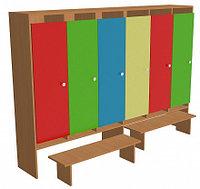 Шкаф для одежды шестисекционный (1912х330х1400) со скамейками, фото 1
