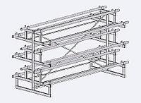 Стеллаж под линолеум двухсторонний на 12 рулонов (L=4000 мм) арт. СЛ12/4