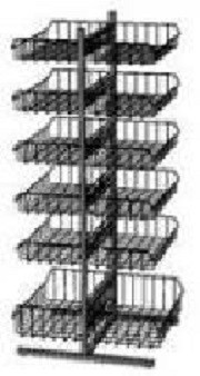 Прикассовая стойка на 12 корзин (400х800х1450 мм) арт. СтПр63