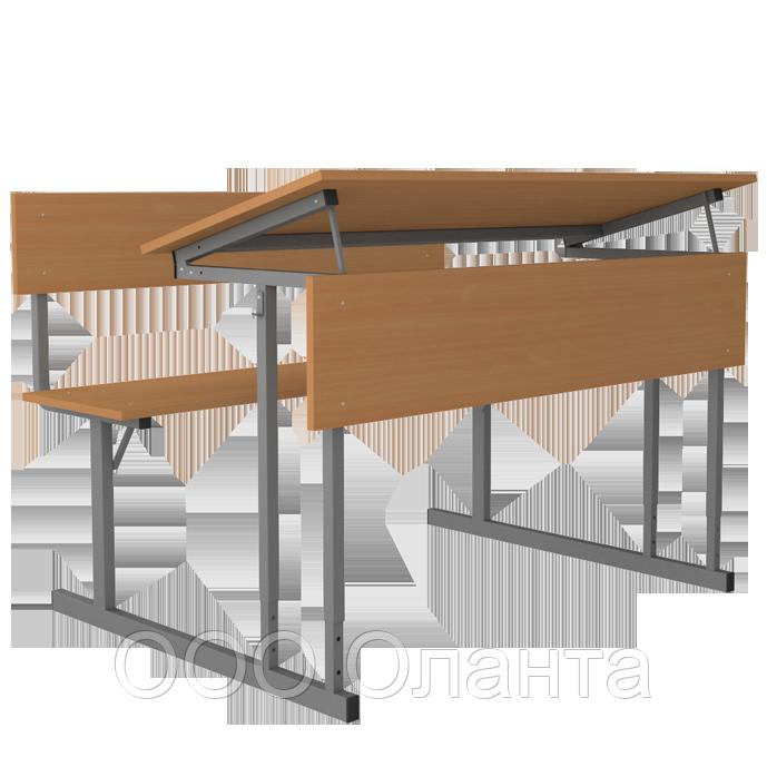 Стол-моноблок ученический двухместный растущий с регулируемым углом наклона столешницы арт. Птр-2т