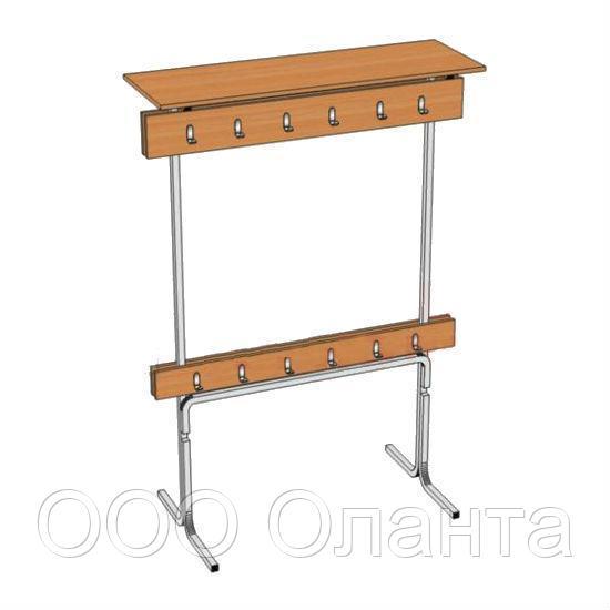 Вешалка для школьного гардероба на 12 мест (1200х400х1700 мм) двухсторонняя арт. В-2