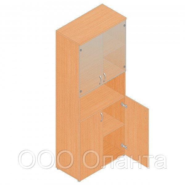Шкаф для документов офисный (798х418х1960) с нишей и комбинированными дверками