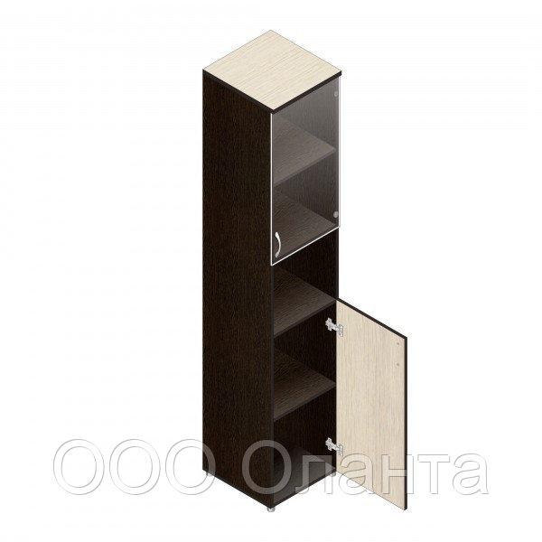 Шкаф для документов офисный (402х418х1960) с нишей и комбинированными дверками