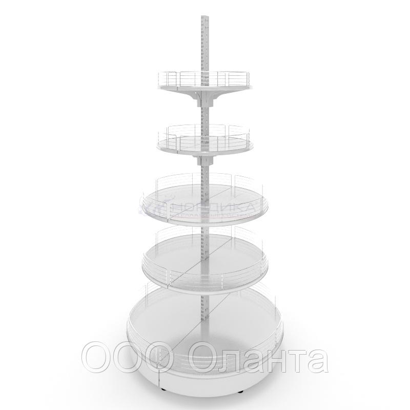 Островной металлический торговый стеллаж (1070х1070х2150 мм) круглый арт. СОКР-25