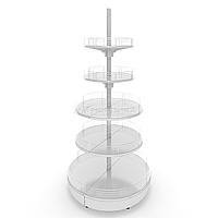 Островной металлический торговый стеллаж (1070х1070х2150 мм) круглый арт. СОКР-25, фото 1