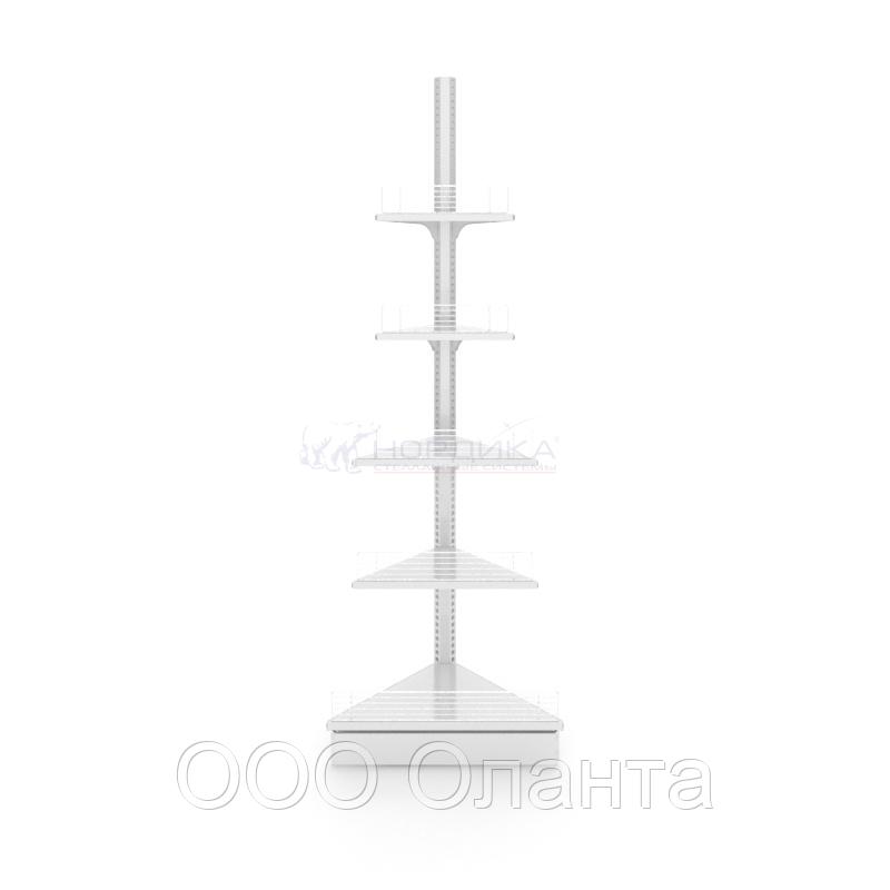 Угловой внешний металлический торговый стеллаж (570х570х2250 мм) арт. СУВН-25