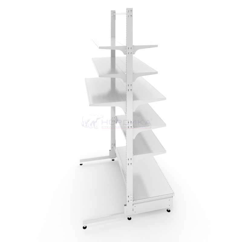 Островной металлический бонетный торговый стеллаж с комбинированной базой (1030х1030х2150 мм) арт. СБ-25/3