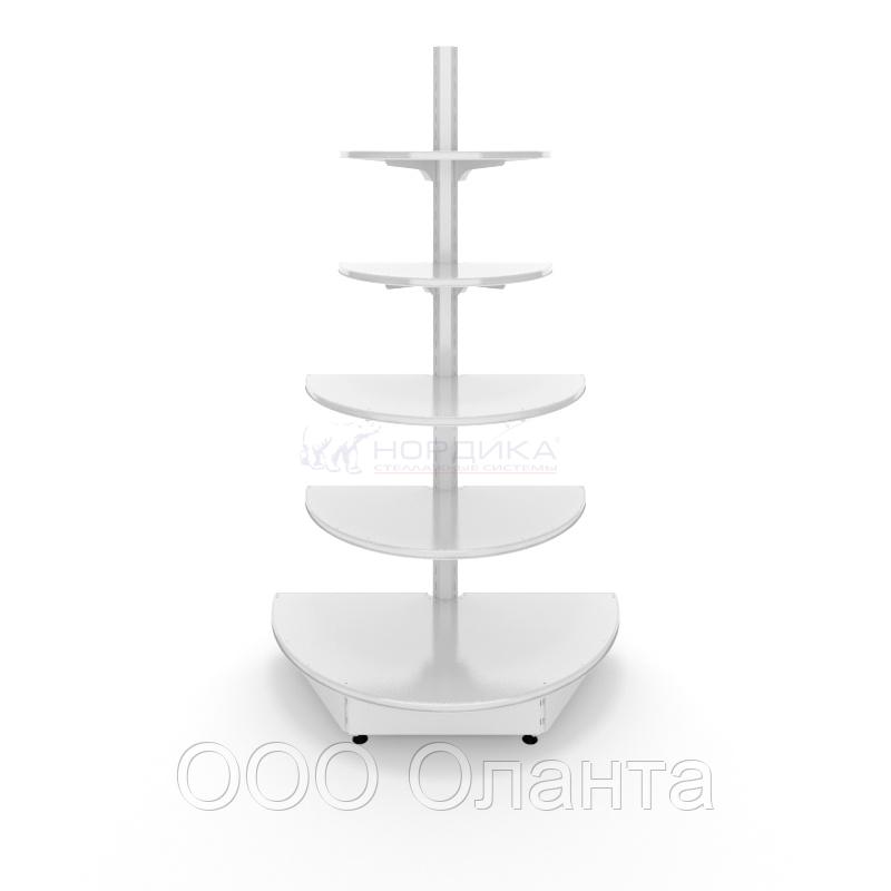 Торцевой металлический торговый стеллаж (1080х550х1900 мм) полукруглый арт. СТПЛ-50
