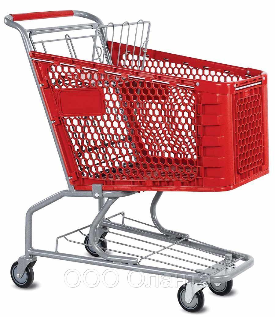 Тележка покупательская для магазина 100 литров с детским сиденьем и нижним поддоном пластик арт. TPSAP100-SP