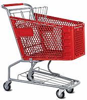 Тележка покупательская для магазина 100 литров с детским сиденьем и нижним поддоном пластик арт. TPSAP100-SP, фото 1