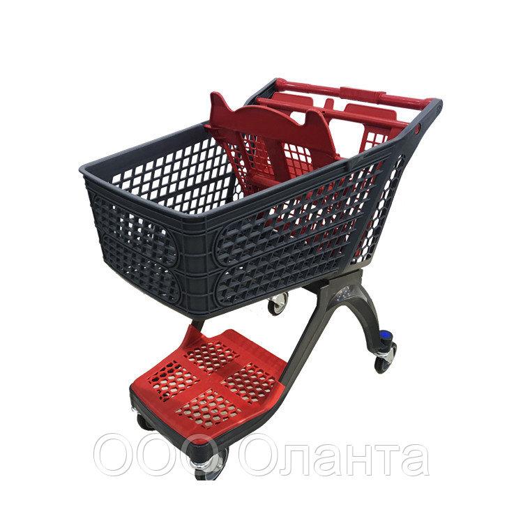 Тележка покупательская для магазина 120 литров с детским сиденьем и нижним поддоном пластик арт. TPSAP120-SP