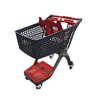 Тележка покупательская для магазина 120 литров с детским сиденьем и нижним поддоном пластик арт. TPSAP120-SP, фото 1