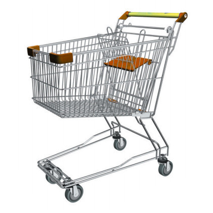 Тележка покупательская траволаторная для магазина 90 литров с детским сиденьем арт. TPMAT90-S