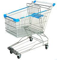 Тележка покупательская траволаторная для магазина 150 литров с детским сиденьем и поддоном арт. TPMAT150-SP, фото 1