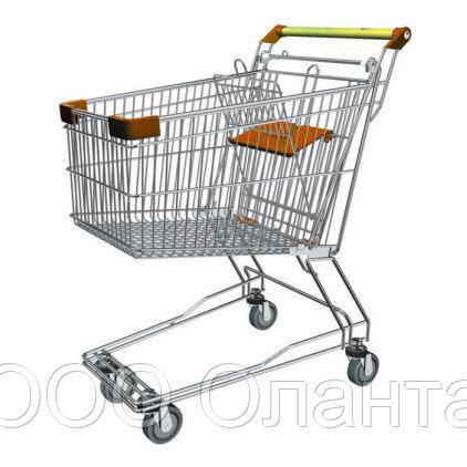 Тележка покупательская траволаторная для магазина 150 литров с детским сиденьем арт. TPMAT150-S