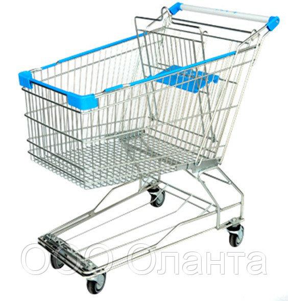 Тележка покупательская траволаторная для магазина 180 литров с детским сиденьем и поддоном арт. TPMAT180-SP