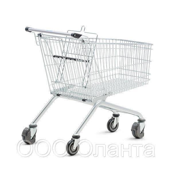 Тележка покупательская траволаторная для магазина 100 литров с детским сиденьем арт. TPMET100-S