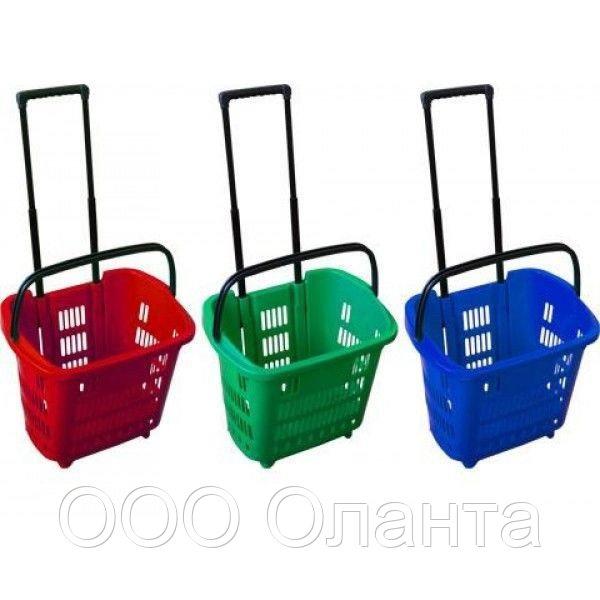 Корзина-тележка покупательская для магазина самообслуживания на 2-х колесах пластик 34 литра арт. KPPK-34K
