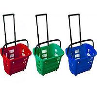 Корзина-тележка покупательская для магазина самообслуживания на 2-х колесах пластик 34 литра арт. KPPK-34K, фото 1